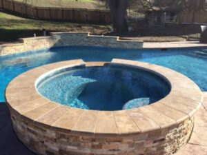this image shows stacked stone pool deck
